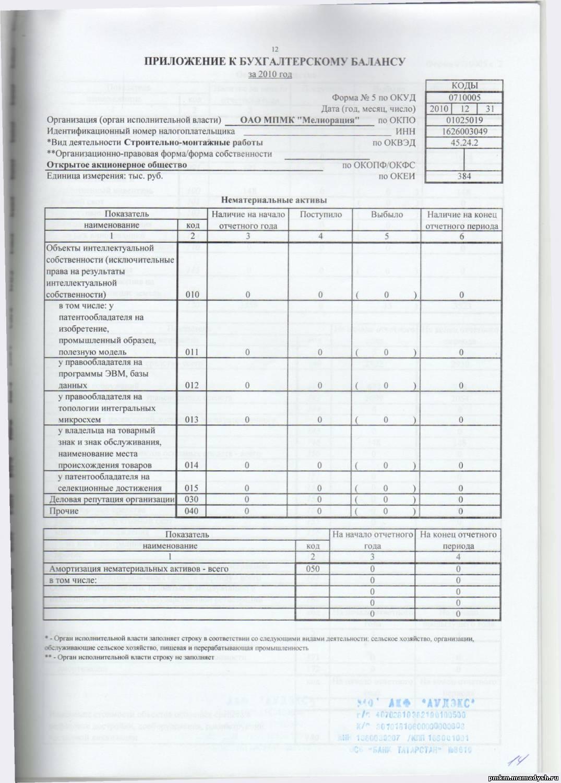 приложения к бухгалтерскому балансу и отчету о прибылях и убытках инструкция